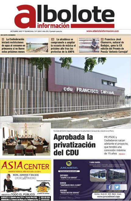 Portada del periódico local de Albolote de la primera quincena de octubre.