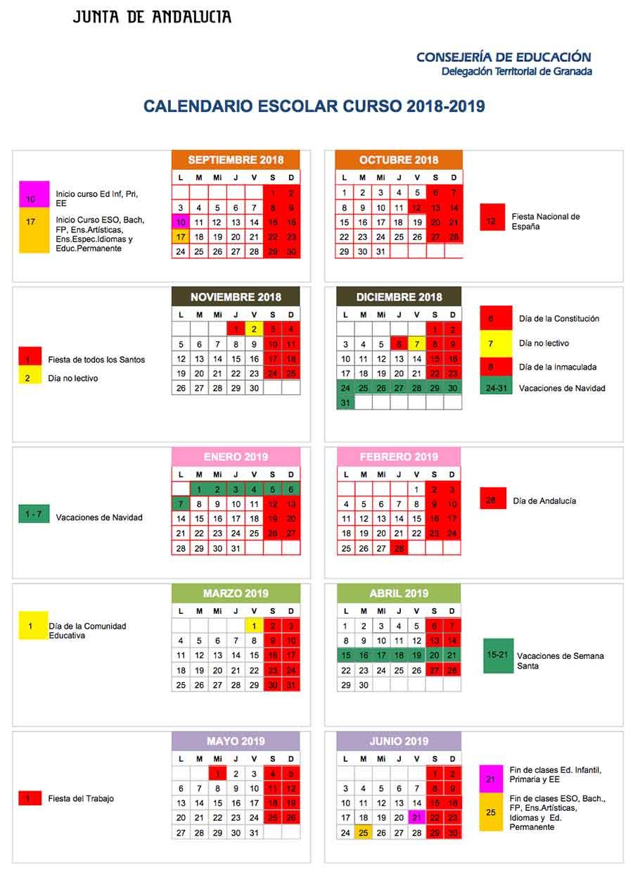 Calendario Vacaciones.Ya Se Conoce El Calendario Del Curso Escolar 18 19