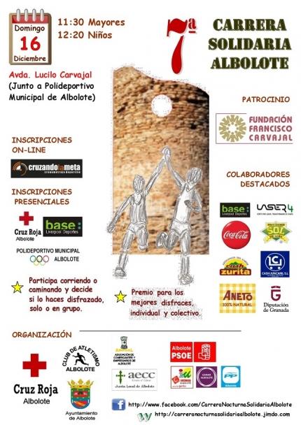 Cartel anunciador de la 7ª Carrera Solidaria de Albolote, que este año será por la mañana.
