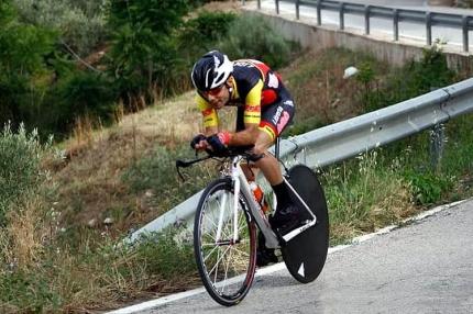 Juan Carlos Ramírez durante su participación en la contrarreloj de los Campeonatos de Andalucía